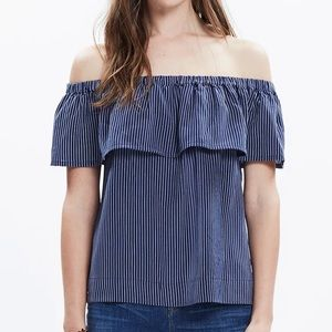 Madewell Silk Balcony off-the-shoulder top